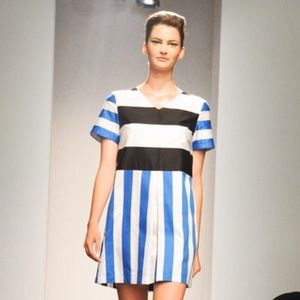 MARIMEKKO Cotton STRIPE SHORT SLEEVE POCKET DRESS